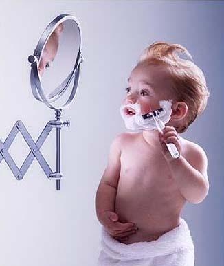 Little Man shaving
